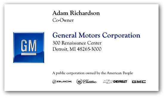 Business card of the day daniel h pink for Gm business card login